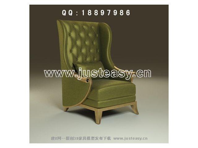Green noble single sofa 3D Model