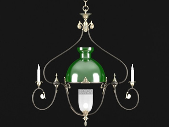 Green shade simple chandelier 3D Model