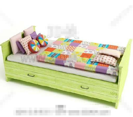 Green with drawers wooden Children Bed 3D Model