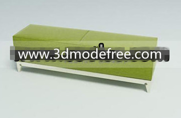Green wooden fabric sofa bench 3D Model