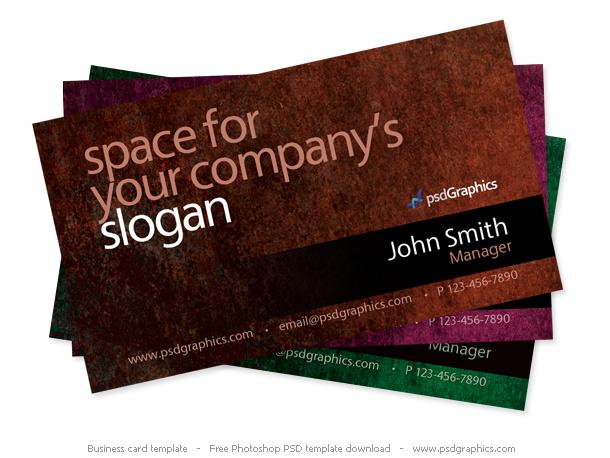 Grunge business card Photoshop template PSD
