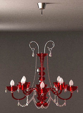 Gules glass chandelier 3D models