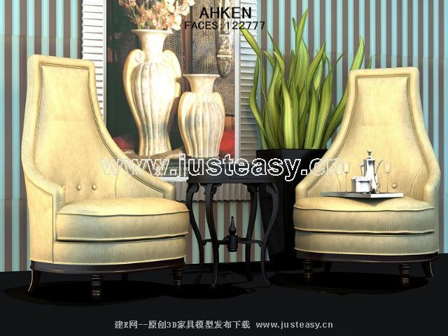 High back and elegant European-style single sofa 3D Model