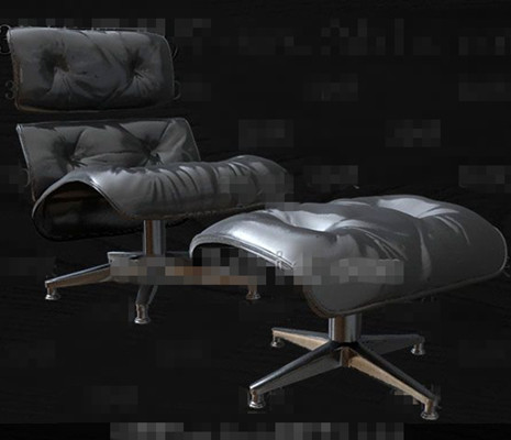 High-grade black leather single sofa 3D Model