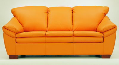 High lazyback leather sofa 3D Model