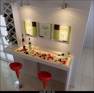Home Decor: Art Wall and Home Bar 3D Model