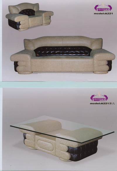 Household white sofa and coffee table 3D Model