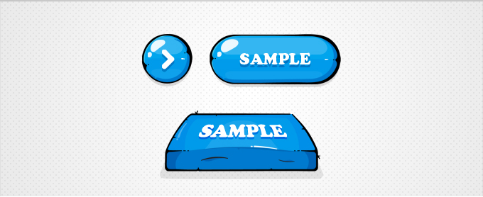 Illustrated Blue Buttons PSD