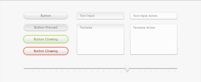 Interface Kit with Buttons, Text Fields, and Slider PSD