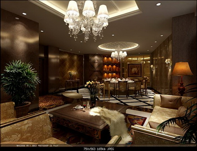 Interior Design Model: Deluxe Living Room And Dining Room Design 3D Model