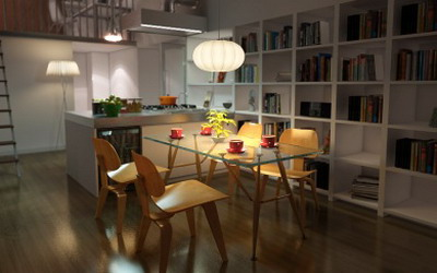 Interior Design: Open Kitchen And Dining Room 3Ds Max Model