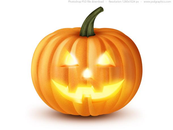 Jack O' Lantern, Halloween pumpkin icon (PSD)