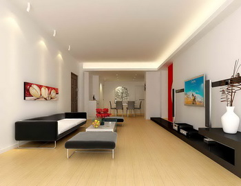 Large space long and narrow living room 3D Model