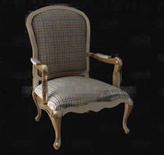 Lattice fabric wooden chair 3D Model
