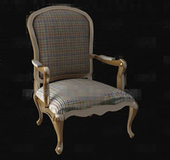 Lattice fabric wooden chair 3D Model