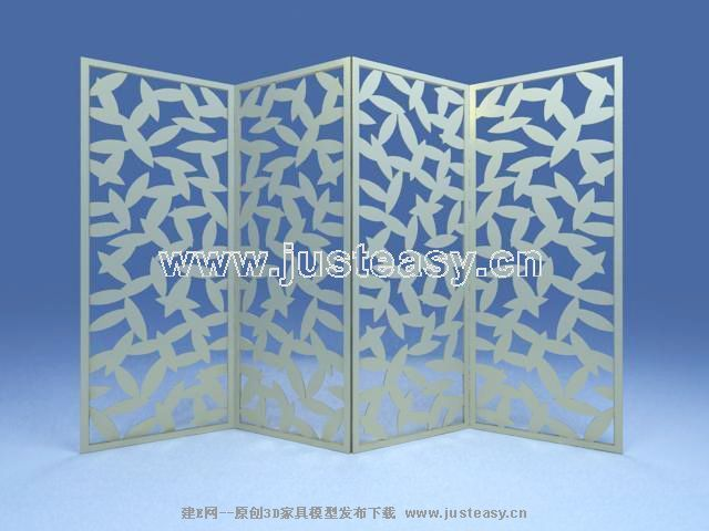 Leaf-type wooden screen 3D model (including materials)