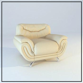 Leather single sofa model 3D Model
