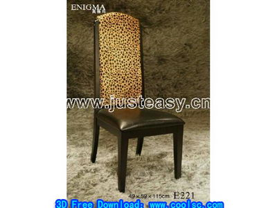 Leopard wood chair 3D model of cortical
