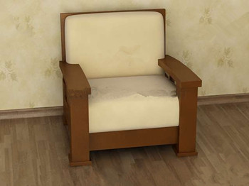 Light brown comfortable single sofa 3D Model