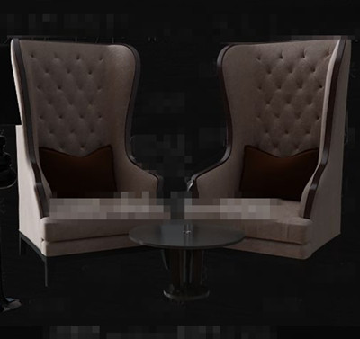 Light brown European single sofa chairs 3D Model