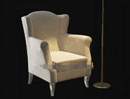Light color comfortable single fabric sofa 3D Model
