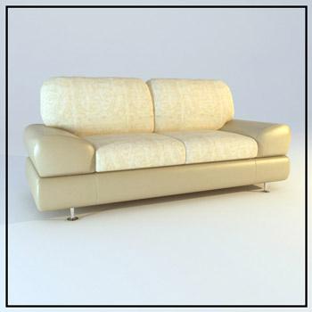 Light comfortable double sofa 3D Model