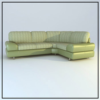 Light green corner sofa 3D Model