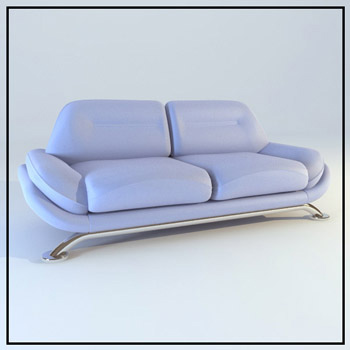 Light purple leather double sofa 3D Model