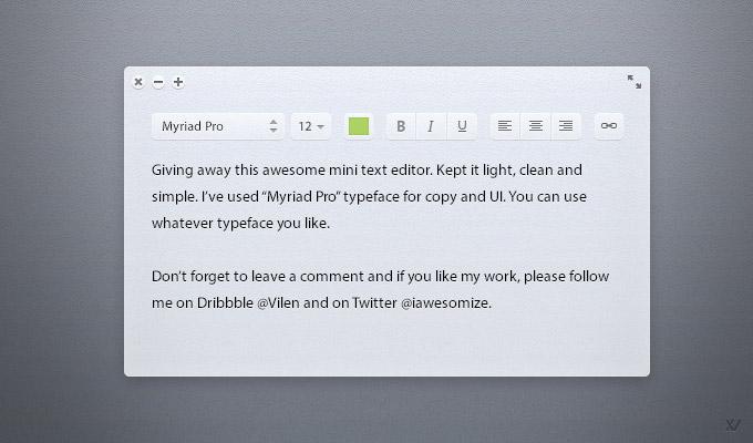 Light Text Editor PSD