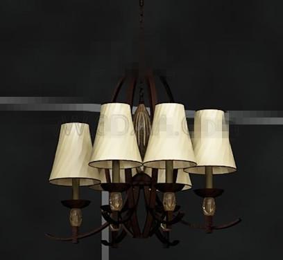 Light yellow metal chain pendant lamp 3D Model