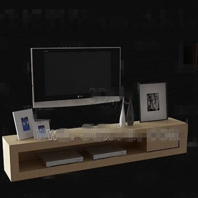 Light yellow simple TV cabinet 3D Model