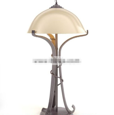 Light yellow small shade table lamp 3D Model
