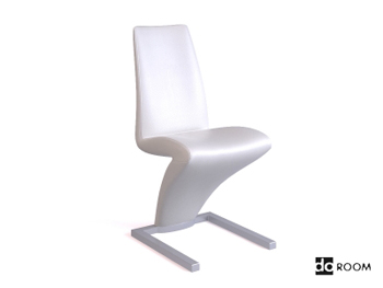 Lightning-shaped white creative chair 3D Model