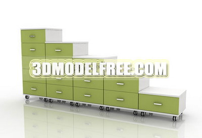 Living furniture table bench lockers practical 3D Model of Bed