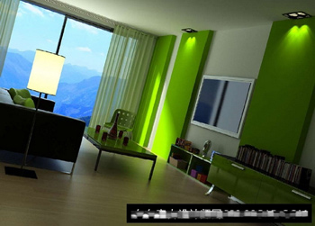 Living room model of the natural landscape 3D Model