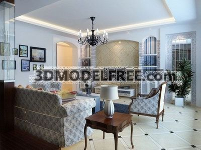 Livingroom In Mediterranean Style Collection 2 3D Model