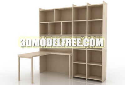 Lockers wardrobe bed bed desk wooden desk solid wood furniture 3D Models