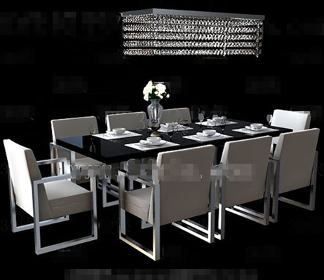 Long black dining table combination 3D Model