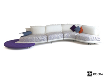 Long white creative multiplayer sofa 3D Model