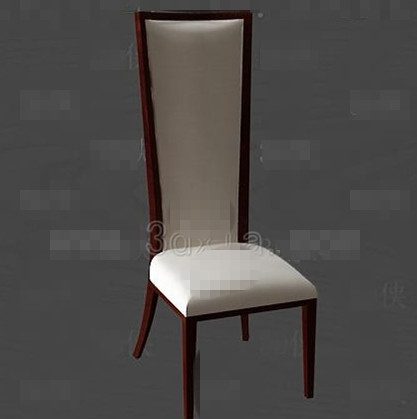 Long white cushion wooden chair 3D Model