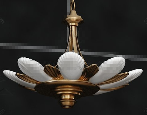 Lotus flower shaped pendant lamp 3D Model