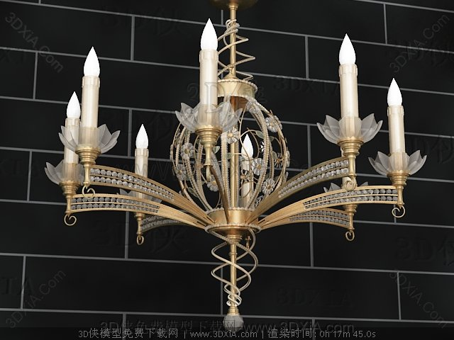 Lotus-like metal chandelier 3D Model