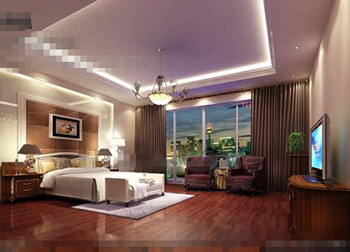 Luxurious and comfortable purple bedroom 3D Model