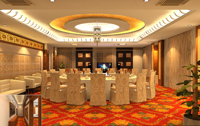 Luxury Chinese Restaurant Separate Room With the Corridor Design 3D Model