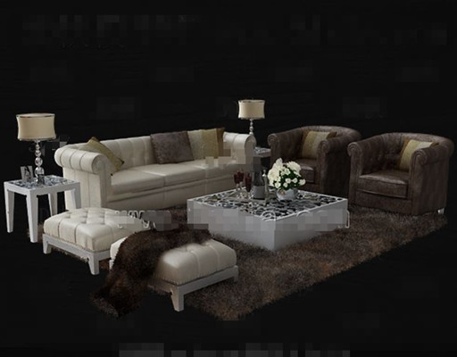Luxury cortical white sofa combination 3D Model