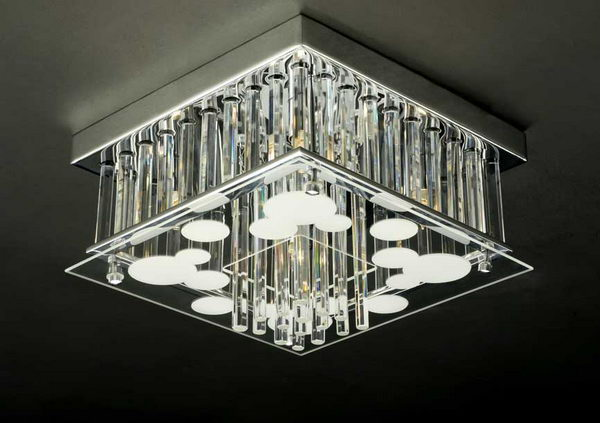 Luxury Cuboid Crystal Pendant Lamp 3D Model