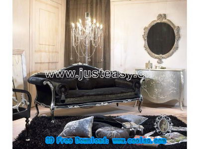 Luxury European-style palace deep sofa 3D model (including materials)