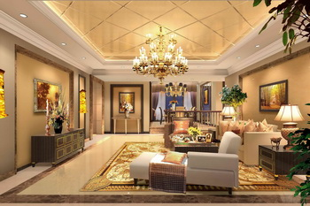 Luxury golden extravagance living room 3D Model