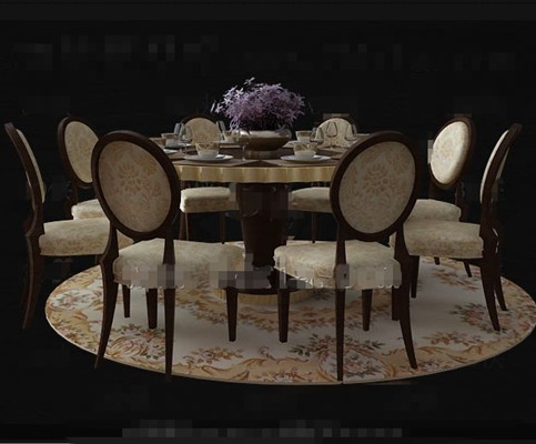 Luxury wooden dining table combination 3D Model