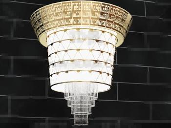 Magnificent gold lace curtain pendant lamp 3D Model